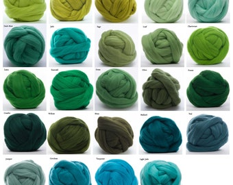 Merino Wool Roving 4 oz -  22.5 Micron, 18 Green colors available, Combed Top / Spinning Fiber / Felting Fiber