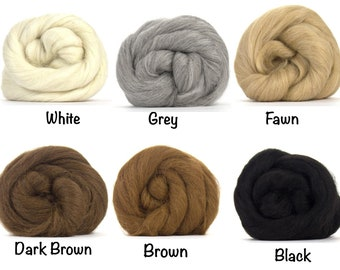 Baby Alpaca Top 4 oz avaliable - White / Grey / Fawn / Dark Brown / Brown / Black  - 4 ounces