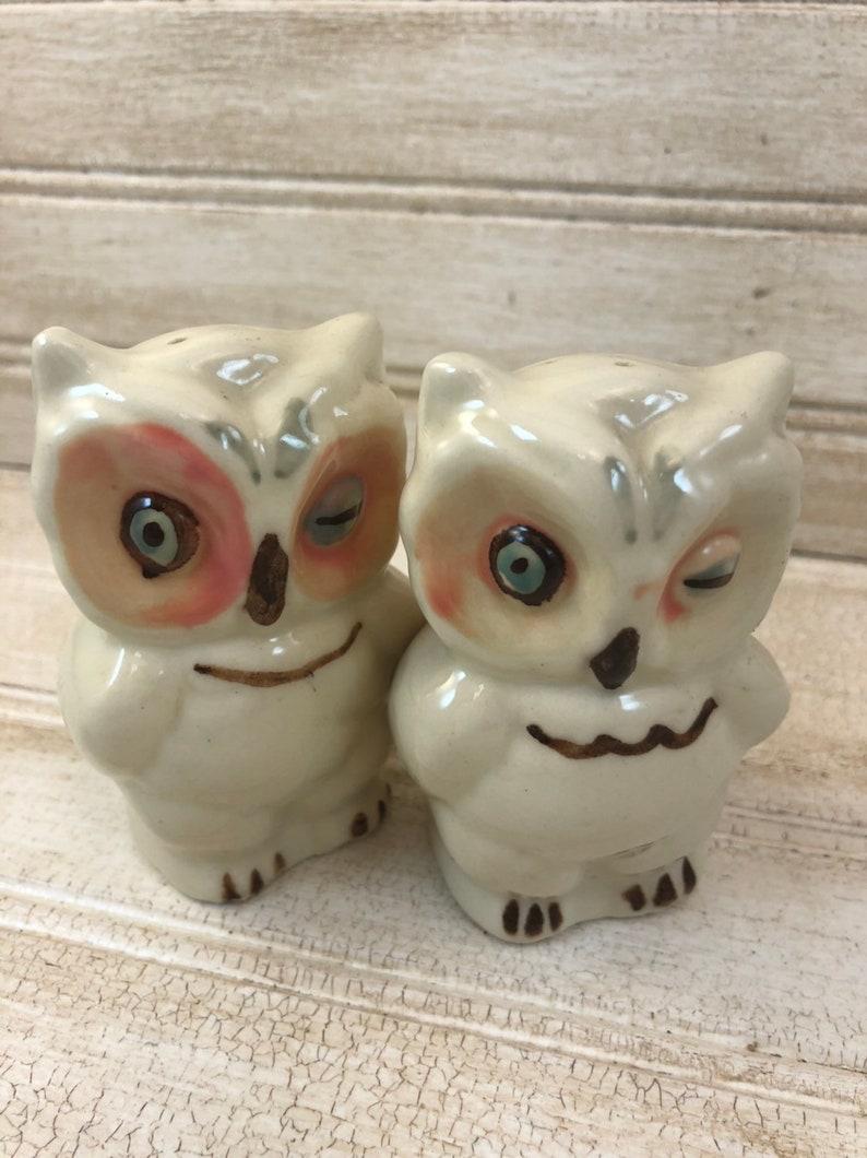 Vintage Ceramic Owl Salt and Pepper Shakers