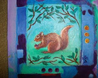 Squirrel w/Nut in Nature - Original Painting Folk Art