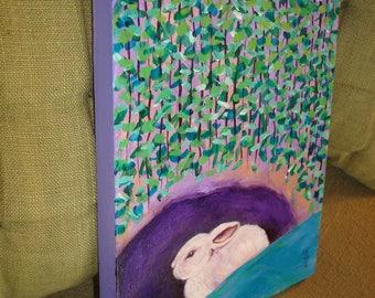 Bunny Rabbit Original Painting Folk Art