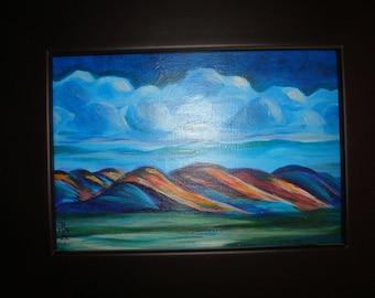 Clouds over Mountains. Original Painting Folk Art