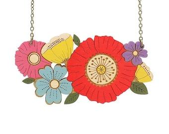 Poppy bouquet necklace ~ hand-painted laser cut flower necklace