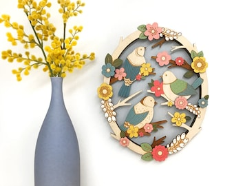 Birds in Springtime - hand painted, laser cut wall hanging