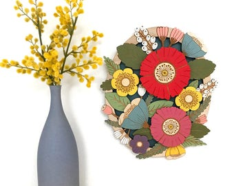 Wild Flowers in Summer - hand painted, laser cut wall hanging