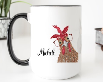 Personalized Mug - Crazy Chicken Lady Coffee Mug - Birthday Gift for Mom - Ceramic Coffee Cup - Smooth Printed Design