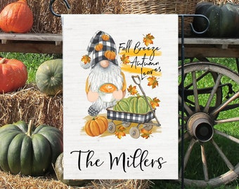 Personalized Fall Gnome Flag - Autumn Front Porch Decor - Fall Breeze and Autumn Leaves - Print on Front Side