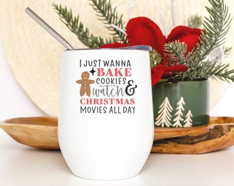 Christmas Movie Tumbler - Funny Christmas Gift for Friend - Holiday Wine Cup for Her - Smooth Printed Design on Both Sides