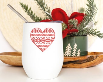 Holiday Wine Tumbler - Coworker Christmas Gift - Wine Lover Gift for Women - Christmas Sweater Heart - Smooth Printed Design on Both Sides