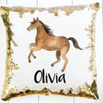 Mermaid Sequin Pillow Personalized with Name - Horse Sequin Pillow Case - Flip Sequin - Christmas Gift for Kids - Pillow Insert Available