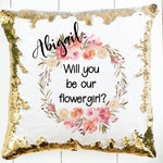 Flower Girl Proposal Pillow - Personalized Mermaid Sequin Pillow Case - Hidden Message - Pillow Insert Available - Cover Measures 15 by 15