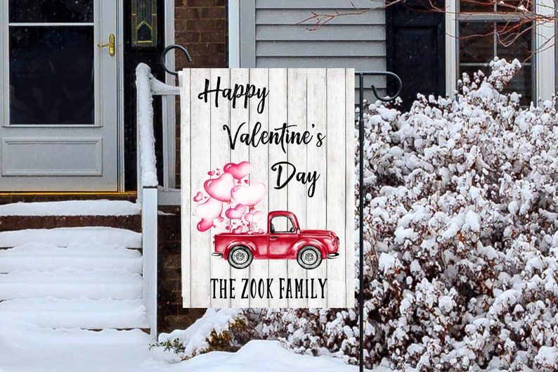 Valentines Day Flag Personalized Garden Flag image 0