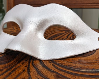 Pearl white leather masquerade mask