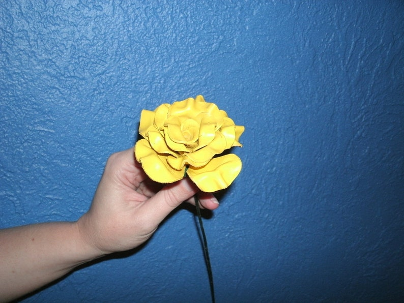 Sculpted yellow leather rose image 0