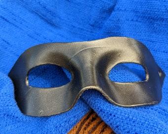 Black metallic leather superhero mask