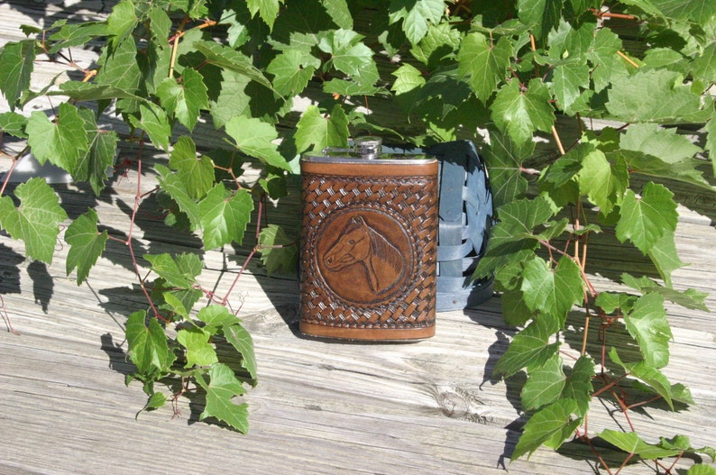 Horse Head Hand-Carved Leather 12 oz Flask image 0