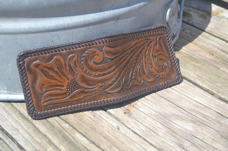 Traditional floral carved leather wallet image 0