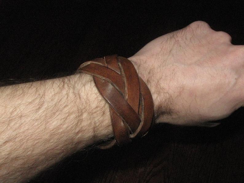5 strand mystery braid leather wristband image 0