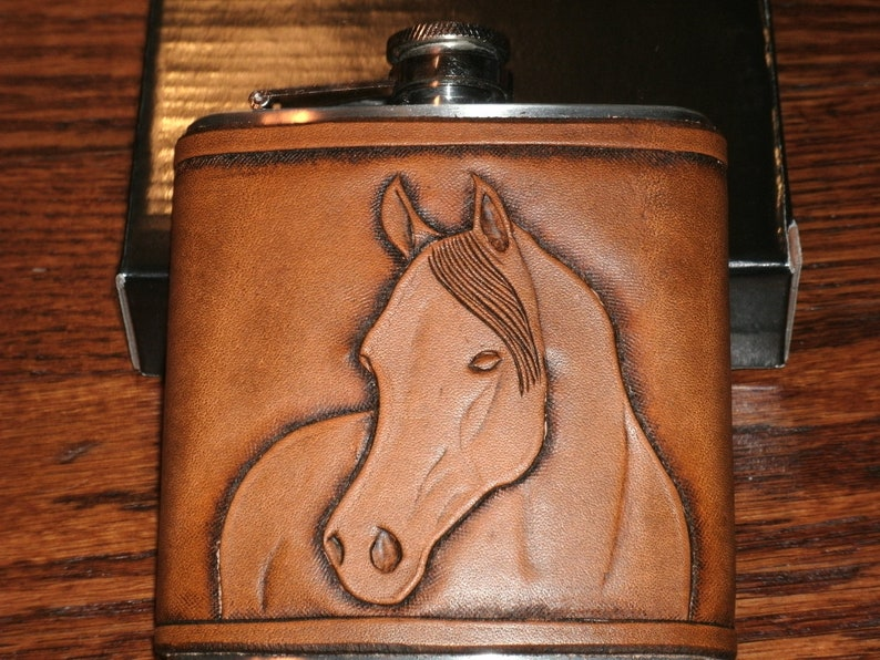 Traditional Horse Design 6 oz Flask  Hand Carved Leather image 0