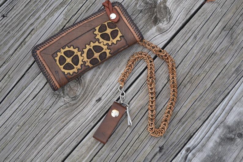 Steampunk gears leather biker wallet w bronze chainmaille image 0