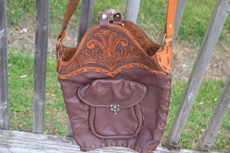 Leather Floral Market Bag Purse image 0
