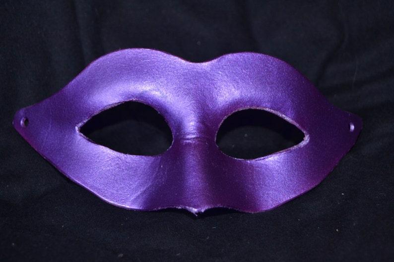 Purple leather masquerade mask image 0