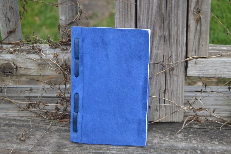 Hand bound blue leather journal image 0