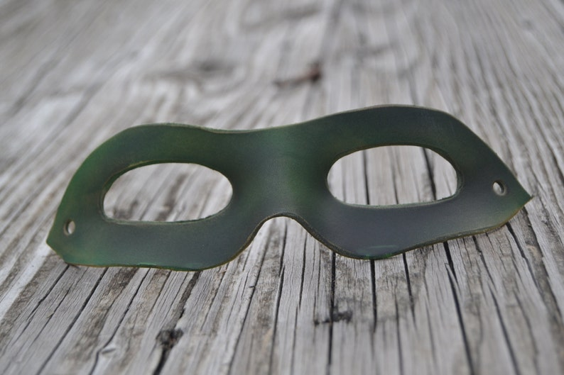 Dark green leather superhero mask image 0