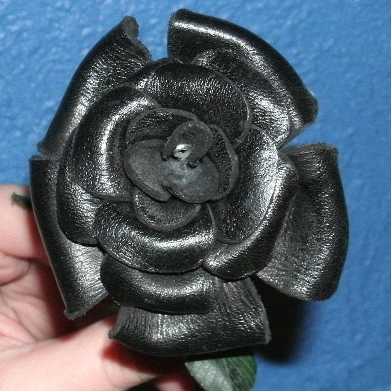 Sculpted black leather rose image 0