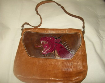 Dragon tooled leather laptop messenger bag