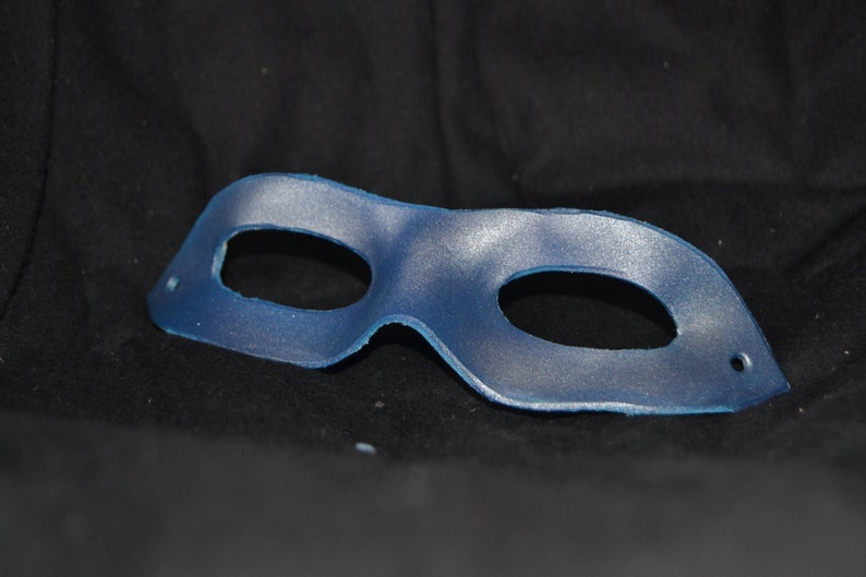 Silver blue leather superhero mask image 0