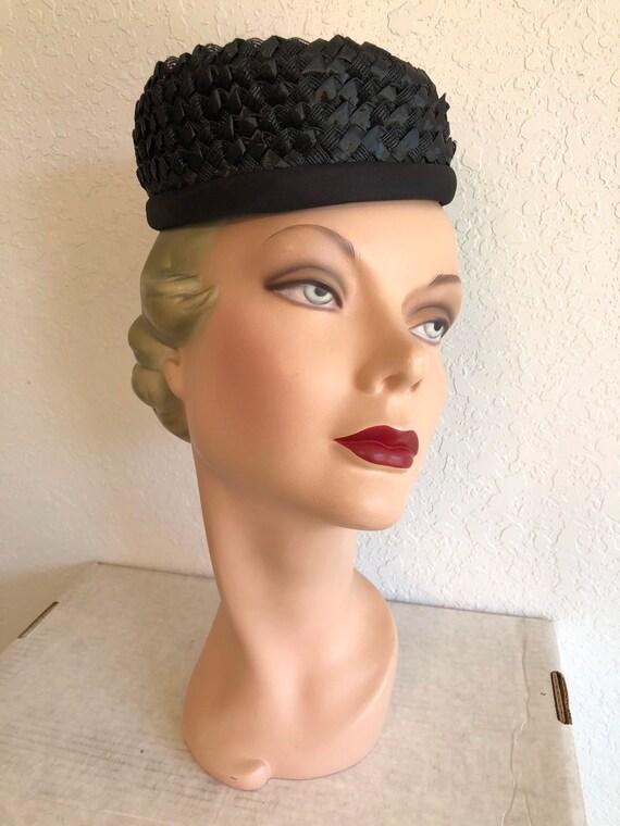 1960s Black Straw Pillbox Hat // Raffia Tilt Cap - image 4