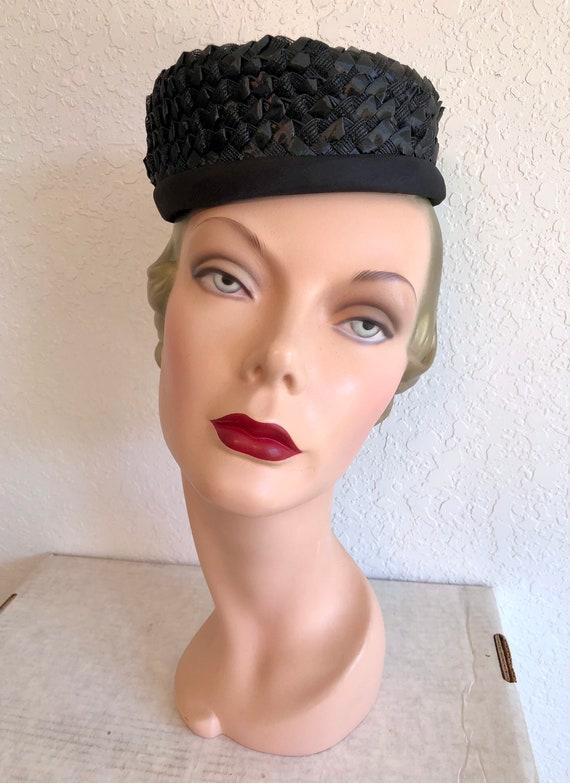 1960s Black Straw Pillbox Hat // Raffia Tilt Cap - image 3