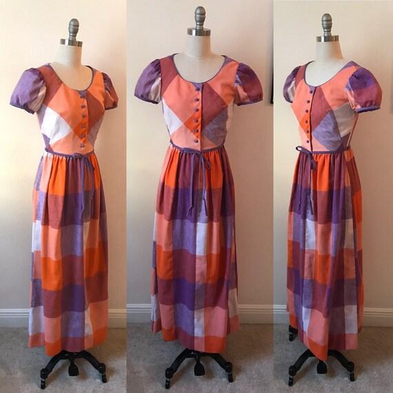 1970s Rag Dolls Purple and Orange Plaid Maxi Dress