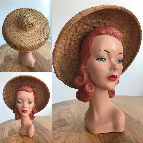 1960s Bamboo Woven Coolie Hat // Rice Paddy Sunhat