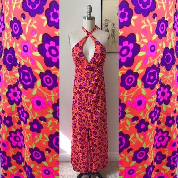 1960s Neon Orange, Pink, and Purple Floral Maxi Ha