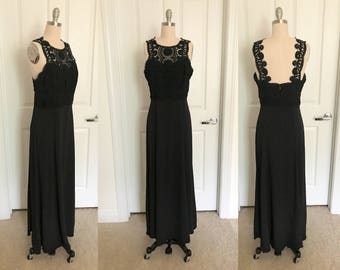 1980s Black Lace Overlay Column Gown // Jessica McClintock Sz. Medium //Formal Prom