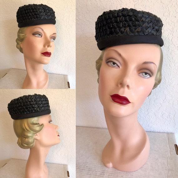 1960s Black Straw Pillbox Hat // Raffia Tilt Cap - image 1