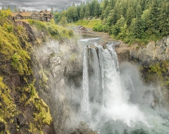 Snoqualmie Falls, Salish Lodge, Fine Art Photography, Waterfall, Green, Nature Photography, fPOE (6 sizes)