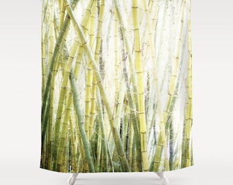 Shower Curtain, Minimalist, Zen, Bamboo, Fog, Green, White, 71x74 inches, Exceptional Quality, fPOE