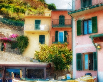 Manarola Boat, Hillside Pastel, Cinque Terre, Tuscany, Italy, Pastel, Pink, Orange, Architecture, Travel, Fine Art Photography, (6 Sizes)