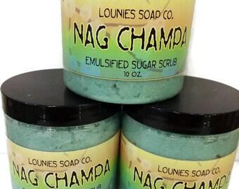 Nag Champa | Sugar Scrub | 10oz | Body Polish | Scrub | Mango Butter | Jojoba Oil | Argan oil | Gift | Sugar | Exfoliate | Moisturize | Shea