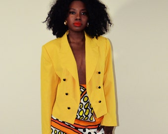 Vintage Mustard Yellow Oversized Blazer with black and gold buttons