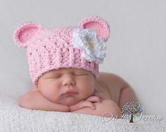Bebé Niña Sombrero de crochet blanco con una preciosa flor grande 0//3 meses