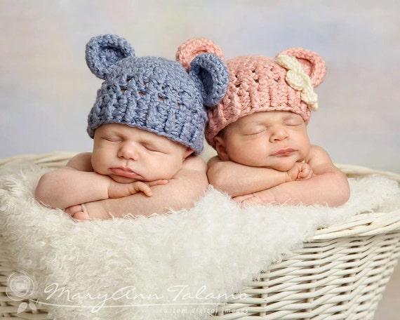 46ba5d678506 Lot de deux casquettes chapeau nouveau-né ours en peluche   Etsy