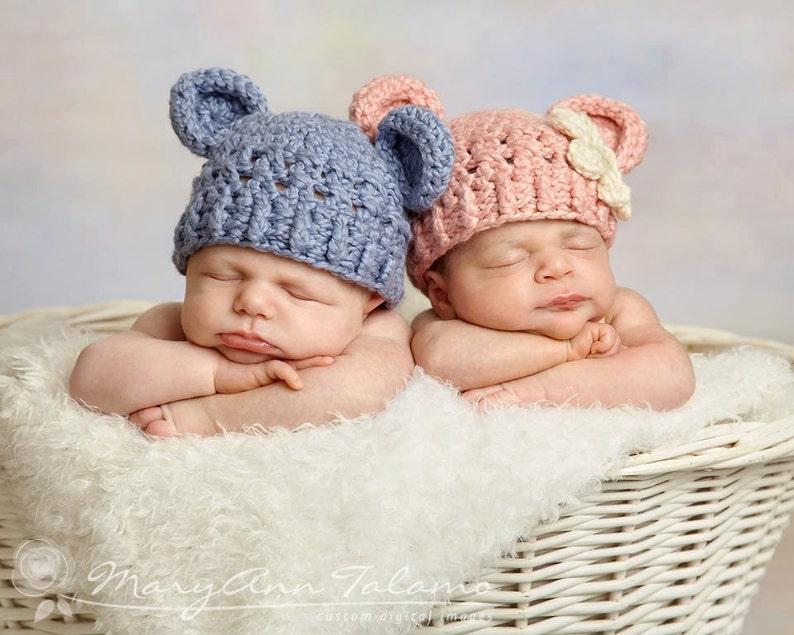e12e57f75ec Set of Two Hats Newborn Teddy Bear Hat Baby Blue Twin Hats