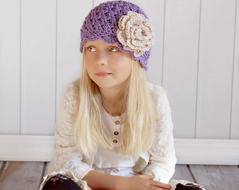 Girl Hat, 2T to 4T Toddler Girl Hat, Girl Handmade Flapper Hat, Lavender with Vanilla Cream Flower. Girl Photo Props. Great with any Outfit.