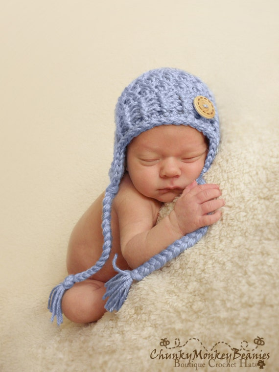 Baby Teddy Earflap Hat /& Matching Mittens Blue or Cream