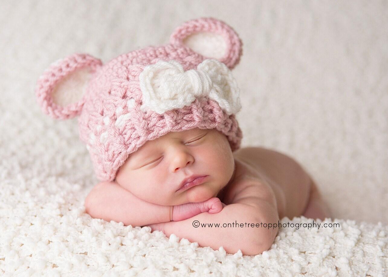 Recién nacido bebé niña sombrero 0 a 1 meses bebé chica  c46189eadeb