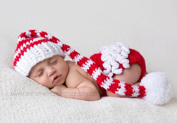 Christmas Set Baby Girl Stocking Hat and Diaper Cover Snow  bffc444d1f9
